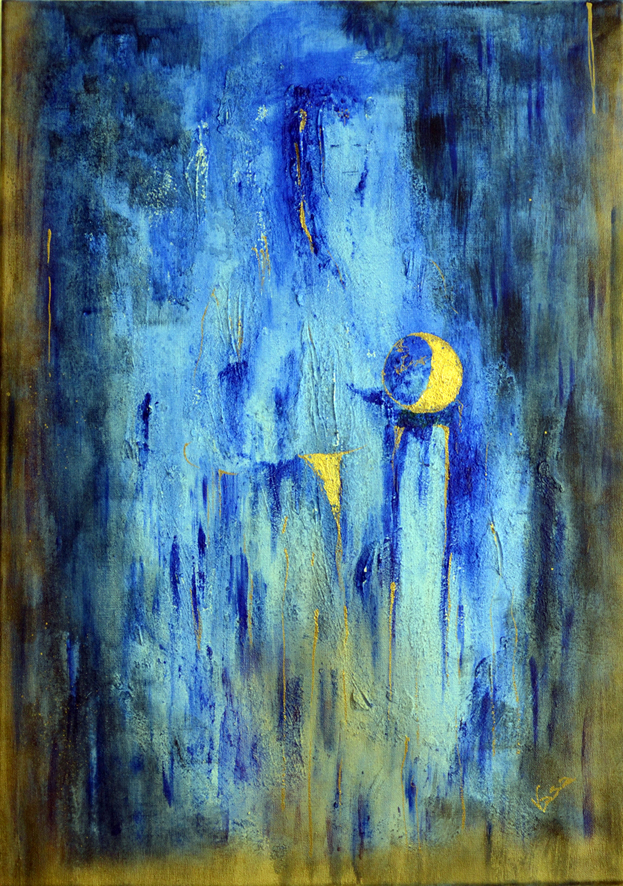 """Blue Madonna with moon"""